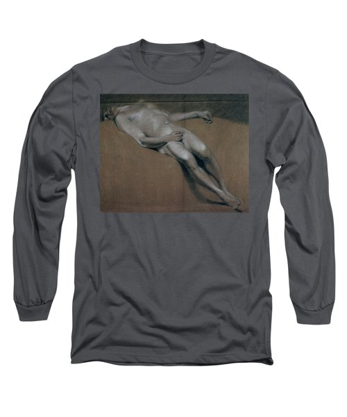 Study Of A Recumbent Male Nude Long Sleeve T-Shirt