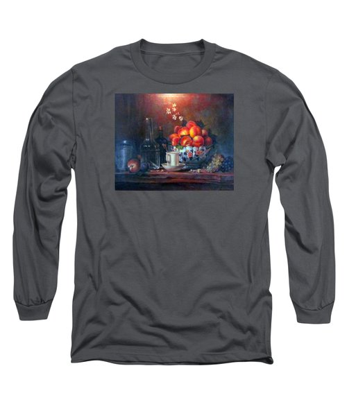Long Sleeve T-Shirt featuring the painting Study Of Peaches by Donna Tucker