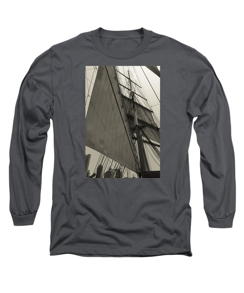Suare And Triangle Black And White Sepia Long Sleeve T-Shirt