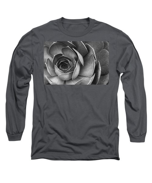 Succulent In Black And White Long Sleeve T-Shirt by Ben and Raisa Gertsberg
