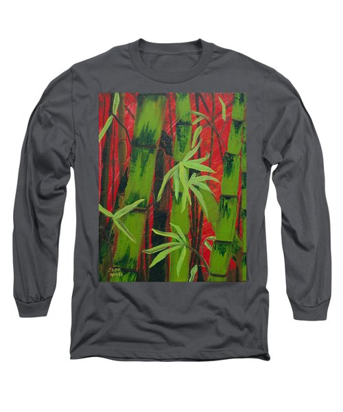 Sultry Bamboo Forest Acrylic Painting Long Sleeve T-Shirt