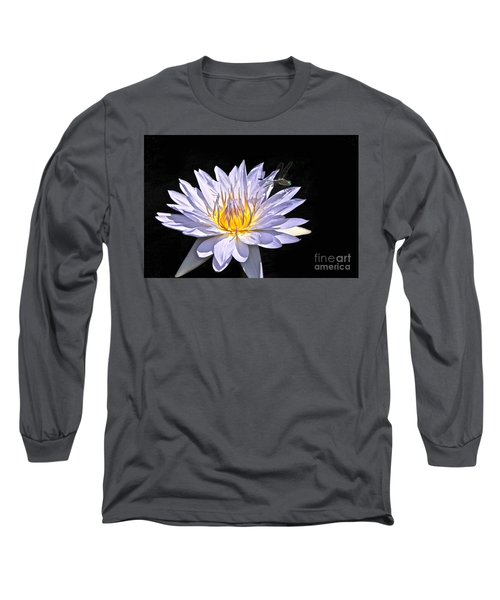 Summer Magic -- Dragonfly On Waterlily On Black Long Sleeve T-Shirt
