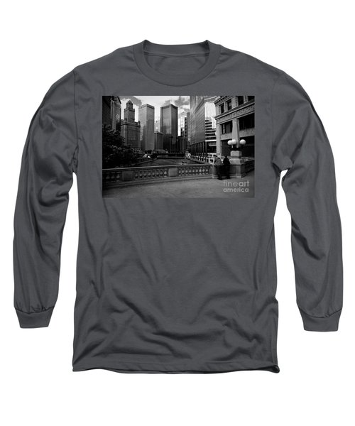 Summer On The Chicago River - Black And White Long Sleeve T-Shirt