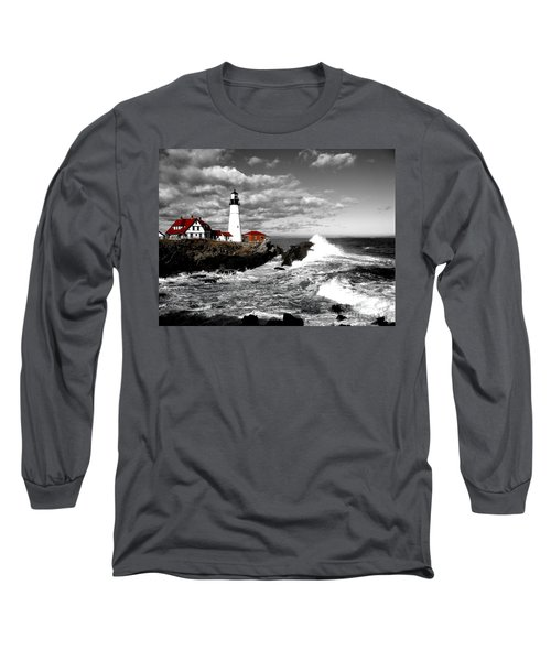 Summer Waves Red Stroke Bw Long Sleeve T-Shirt