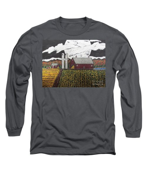 Long Sleeve T-Shirt featuring the painting Sun Flower Farm by Jeffrey Koss