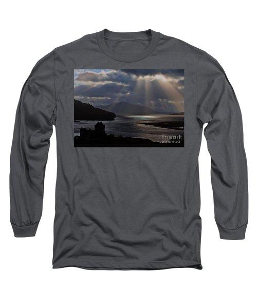 Sun Rays Over Eilean Donan Castle Long Sleeve T-Shirt
