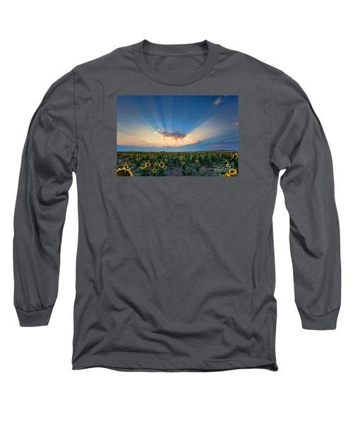 Sunflower Field At Sunset Long Sleeve T-Shirt by Jim Garrison