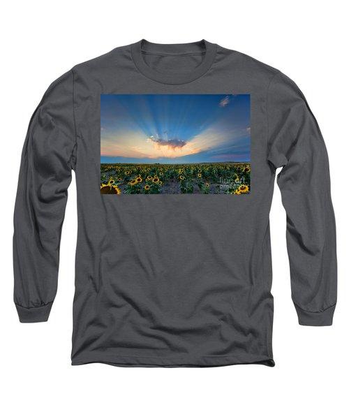 Sunflower Field At Sunset Long Sleeve T-Shirt