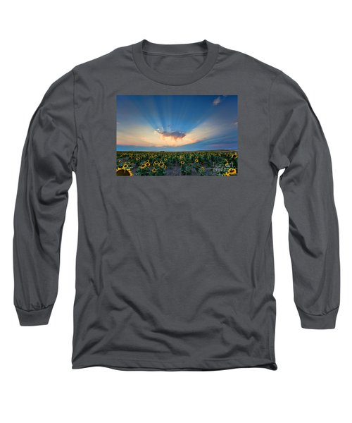 Sunflower Field At Sunset Long Sleeve T-Shirt