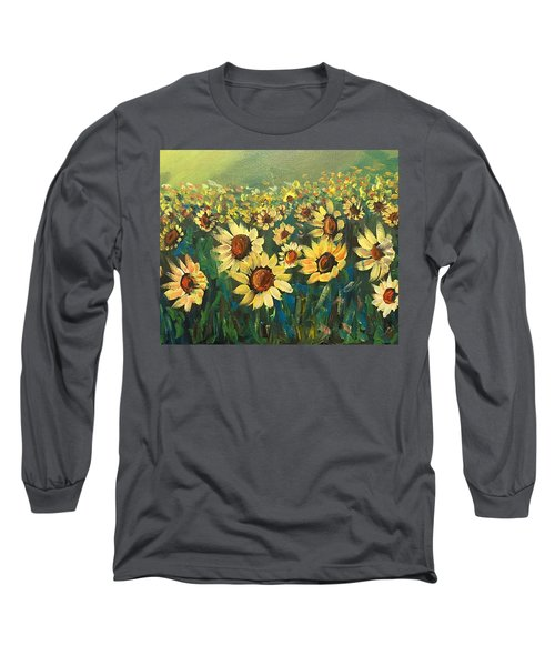 Long Sleeve T-Shirt featuring the painting Sunflower Field by Dorothy Maier
