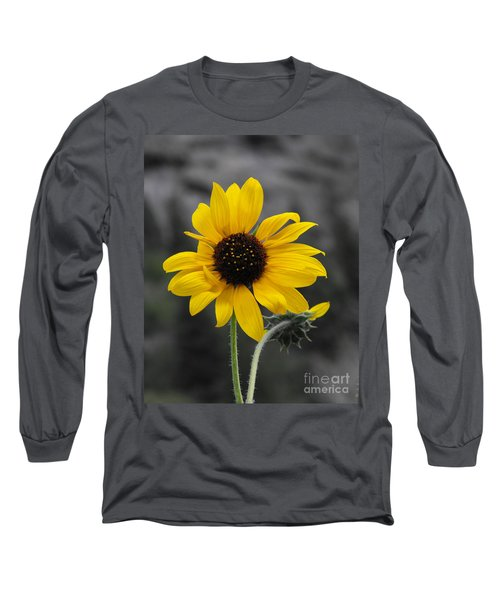 Sunflower On Gray Long Sleeve T-Shirt by Rebecca Margraf