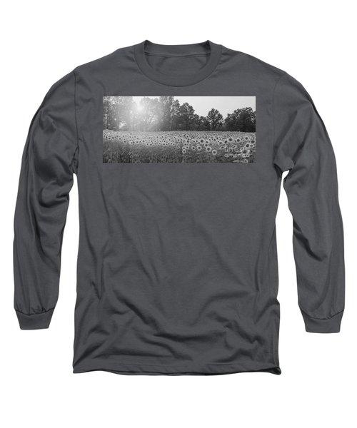 Sunflower Sunset Bw Long Sleeve T-Shirt