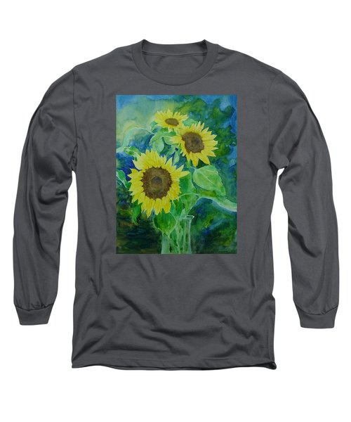 Sunflowers Colorful Sunflower Art Of Original Watercolor Long Sleeve T-Shirt by Elizabeth Sawyer