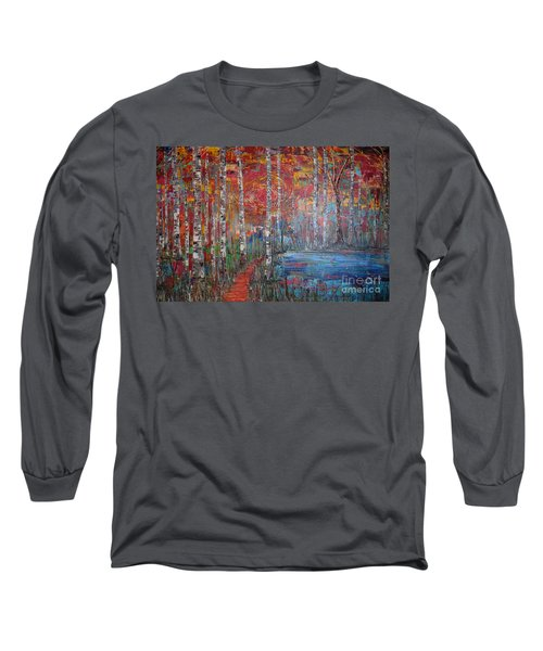 Sunlit Birch Pathway Long Sleeve T-Shirt by Jacqueline Athmann