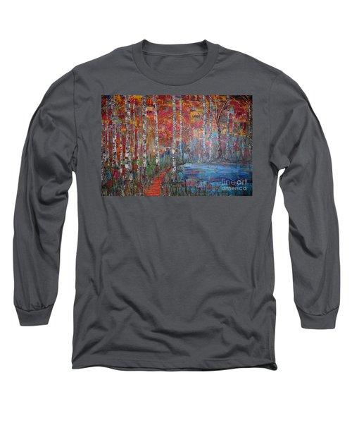 Sunlit Birch Pathway Long Sleeve T-Shirt