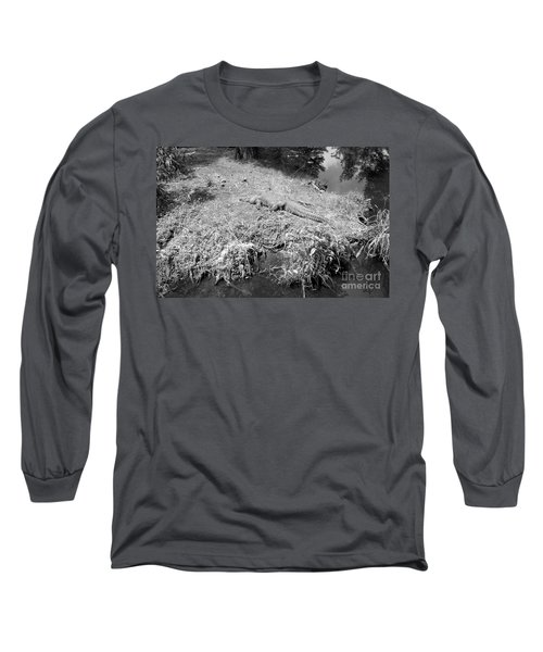 Long Sleeve T-Shirt featuring the photograph Sunny Gator Black And White by Joseph Baril