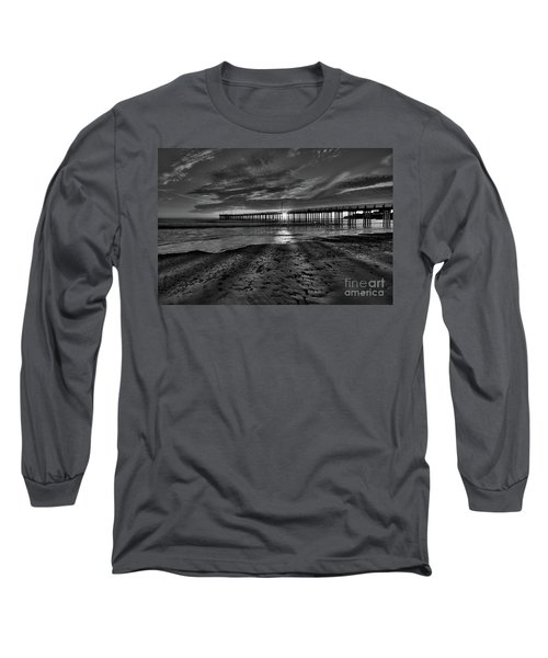 Sunrays Through The Pier In Black And White Long Sleeve T-Shirt