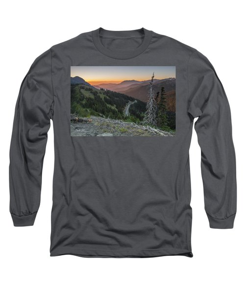 Sunrise At Hurricane Ridge - Sunrise Peak Long Sleeve T-Shirt by Charlie Duncan