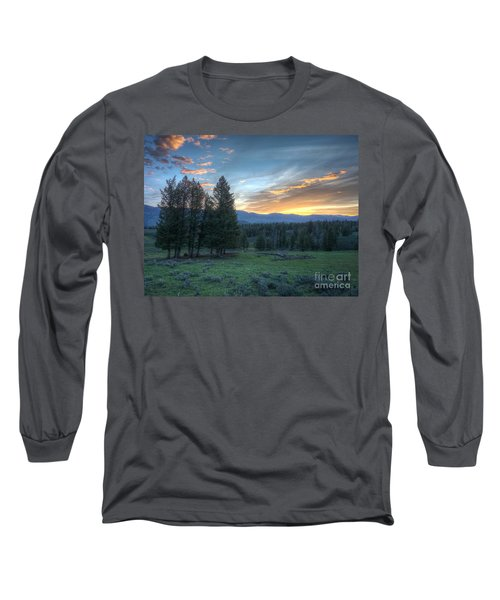 Sunrise Behind Pine Trees In Yellowstone Long Sleeve T-Shirt