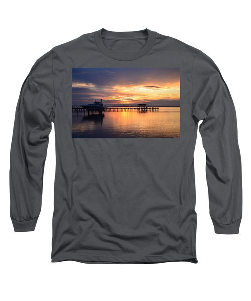 Long Sleeve T-Shirt featuring the photograph Sunrise Colors On The Sound by Jeff at JSJ Photography