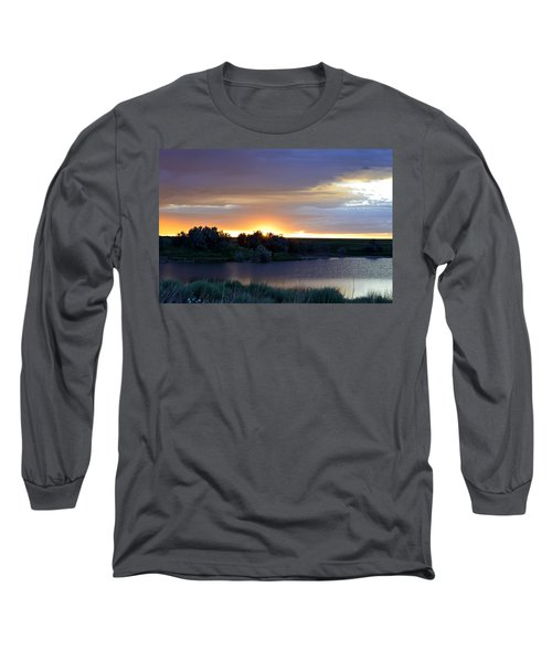 Sunrise Over Kinney Lake Long Sleeve T-Shirt by Clarice  Lakota