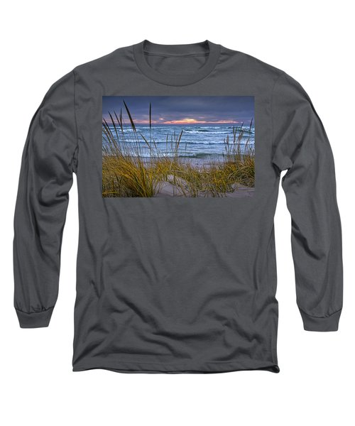 Sunset On The Beach At Lake Michigan With Dune Grass Long Sleeve T-Shirt by Randall Nyhof