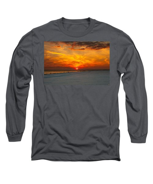 Long Sleeve T-Shirt featuring the photograph Sunset Beach New York by Chris Lord