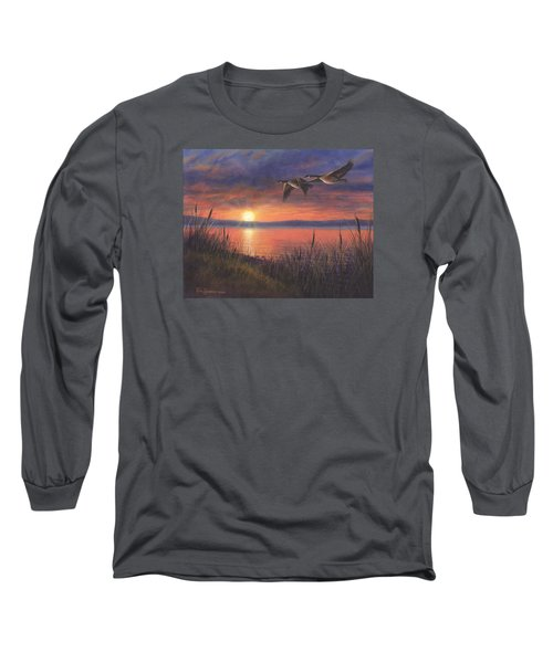 Sunset Flight Long Sleeve T-Shirt by Kim Lockman