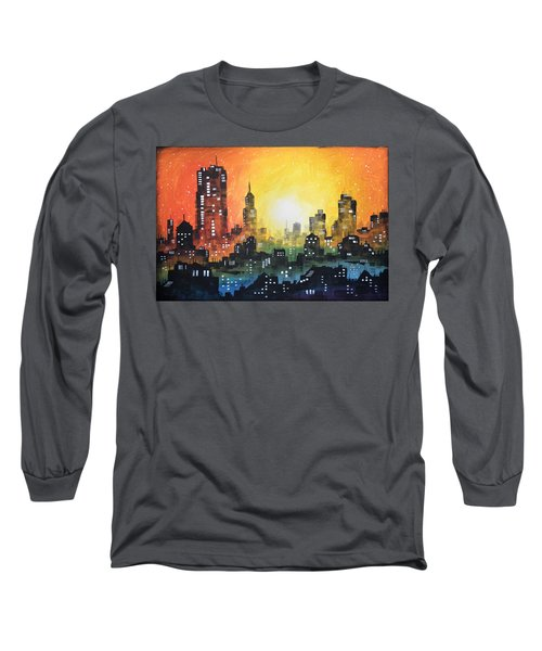 Long Sleeve T-Shirt featuring the painting Sunset In The City by Amy Giacomelli