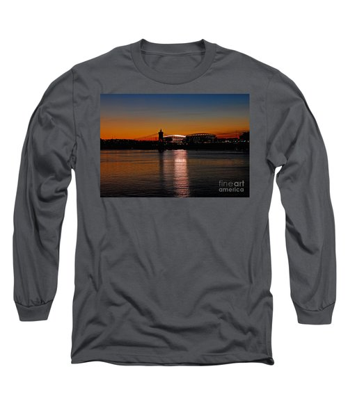 Sunset On Paul Brown Stadium Long Sleeve T-Shirt by Mary Carol Story