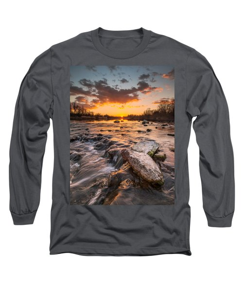 Sunset On River Long Sleeve T-Shirt by Davorin Mance