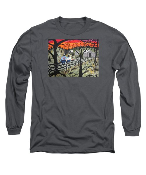 Long Sleeve T-Shirt featuring the painting Sunset On The Fence by Jeffrey Koss