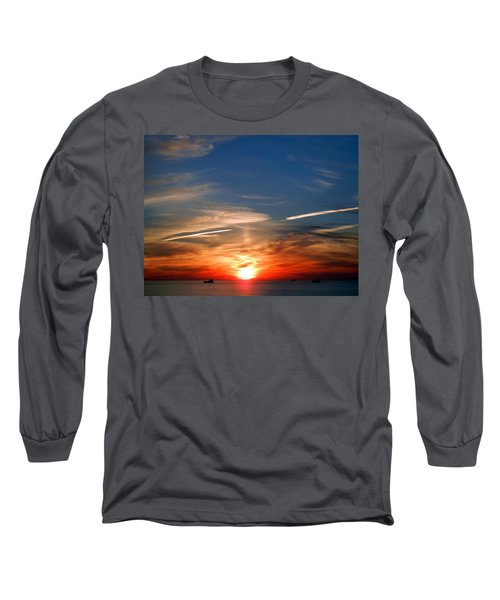 Sunset On The Gulf Of Mexico Long Sleeve T-Shirt by Debra Martz