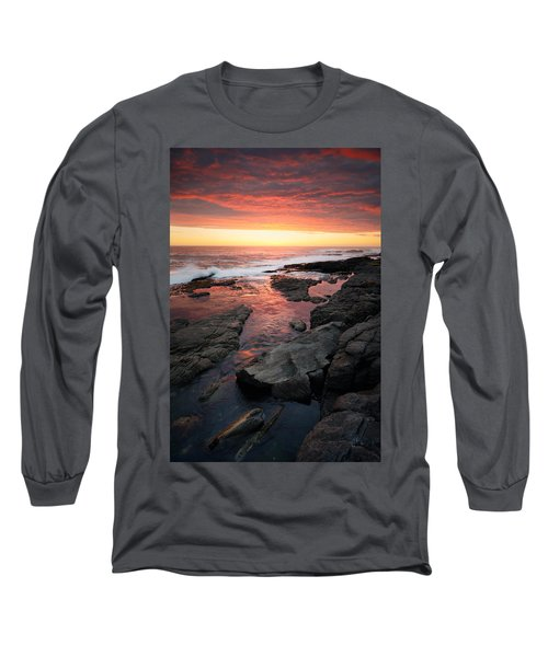 Sunset Over Rocky Coastline Long Sleeve T-Shirt