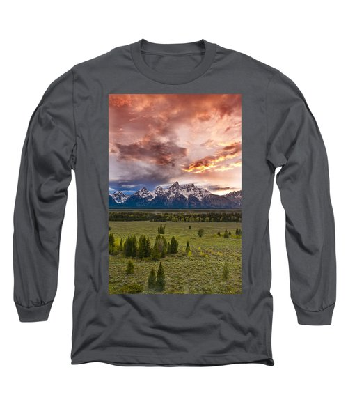 Sunset Over The Tetons  Long Sleeve T-Shirt