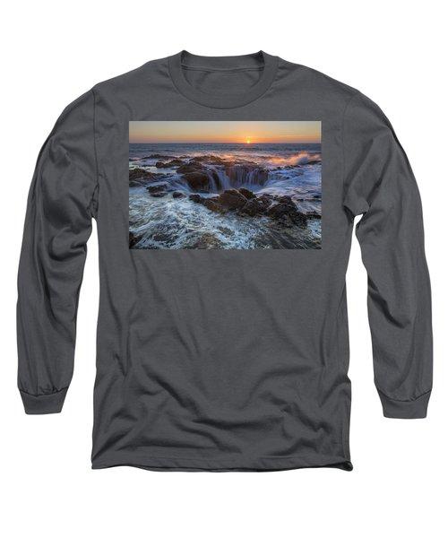 Sunset Over Thor's Well Along Oregon Coast Long Sleeve T-Shirt