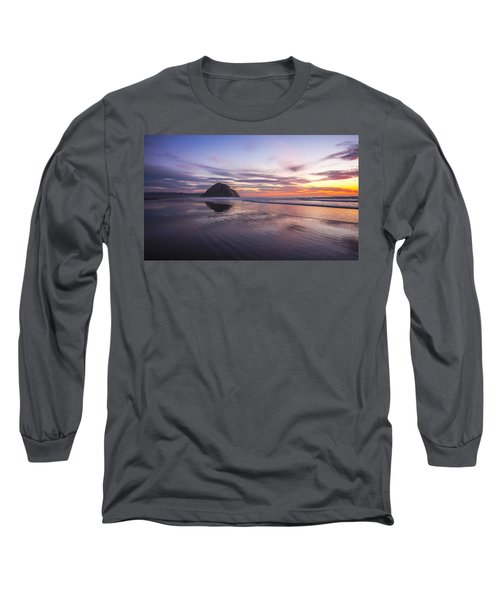 Sunset Reflections At Morro Bay Beach Rock Fine Art Photography Print Long Sleeve T-Shirt by Jerry Cowart