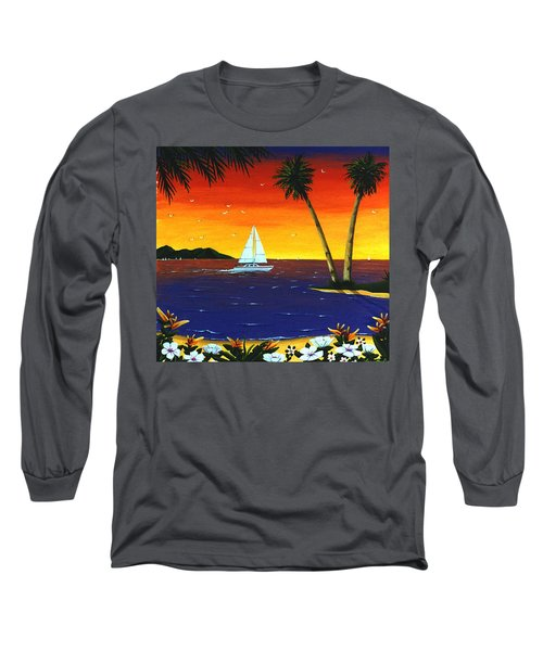 Long Sleeve T-Shirt featuring the painting Sunset Sails by Lance Headlee
