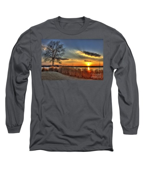 Sunset Sawgrass On Lake Oconee Long Sleeve T-Shirt by Reid Callaway