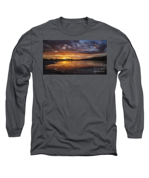Sunset With Clouds Over Malibu Beach Lagoon Estuary Long Sleeve T-Shirt by Jerry Cowart