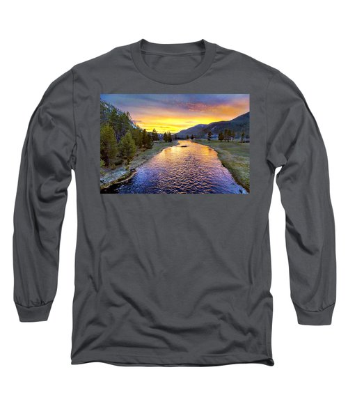 Sunset Yellowstone National Park Madison River Long Sleeve T-Shirt