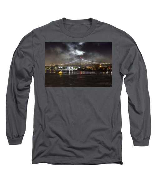 Super Moon And Triboro Bridge Long Sleeve T-Shirt