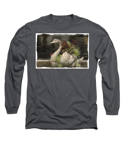 Swan With Beautiful Flowers Long Sleeve T-Shirt