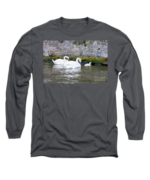 Swans And Cygnets In Brugge Canal Belgium Long Sleeve T-Shirt