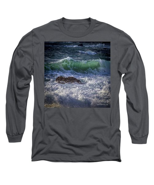 Swells In Doninos Beach Galicia Spain Long Sleeve T-Shirt by Pablo Avanzini