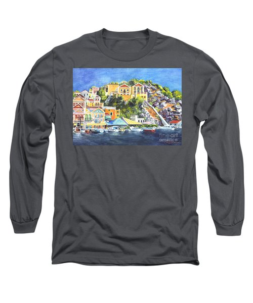 Symi Harbor The Grecian Isle  Long Sleeve T-Shirt