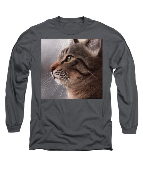Tabby Cat Painting Long Sleeve T-Shirt