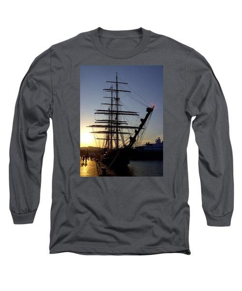 Tall Ship In Ibiza Town Long Sleeve T-Shirt