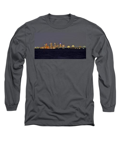 Long Sleeve T-Shirt featuring the photograph Tampa City Skyline At Night 7 November 2012 by Jeff at JSJ Photography