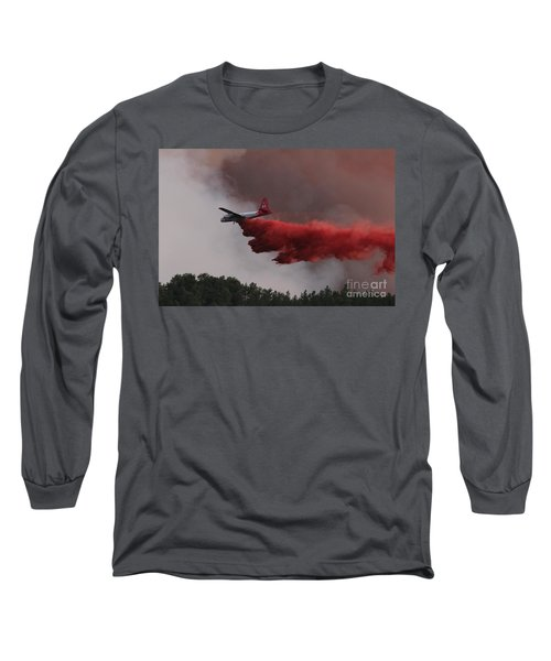 Long Sleeve T-Shirt featuring the photograph Tanker 07 Drops On The Myrtle Fire by Bill Gabbert